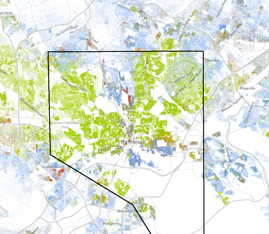 Distribution of races in Baltimore, Maryland according to the 2010 U.S. Census. (Blue = White Americans; Green = African Americans; Red = Asian Americans; Orange = Latino Americans)