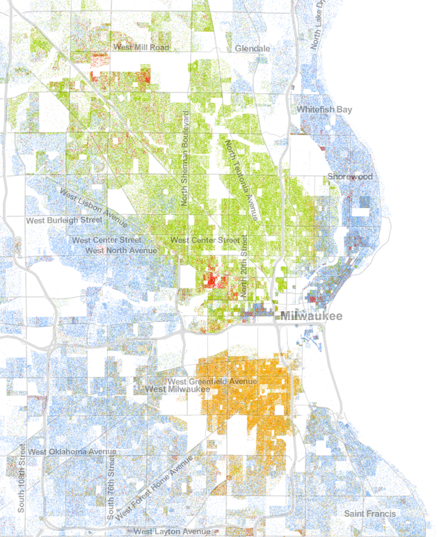 Population map for Milwaukee, Wisconsin; based on 2010 Census Bureau data. Obtained from UVA's Wheldon Cooper Center for Public Policy.