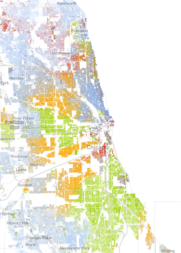 Population map for Chicago, Illinois; based on 2010 Census Bureau data. Obtained from UVA's Wheldon Cooper Center for Public Policy.