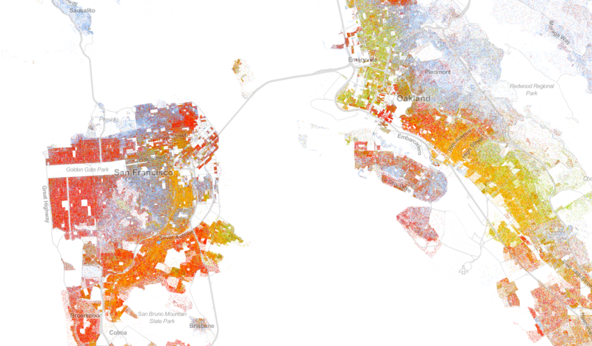 Population map for San Francisco and Oakland, California; based on 2010 Census Bureau data. Obtained from UVA's Wheldon Cooper Center for Public Policy.
